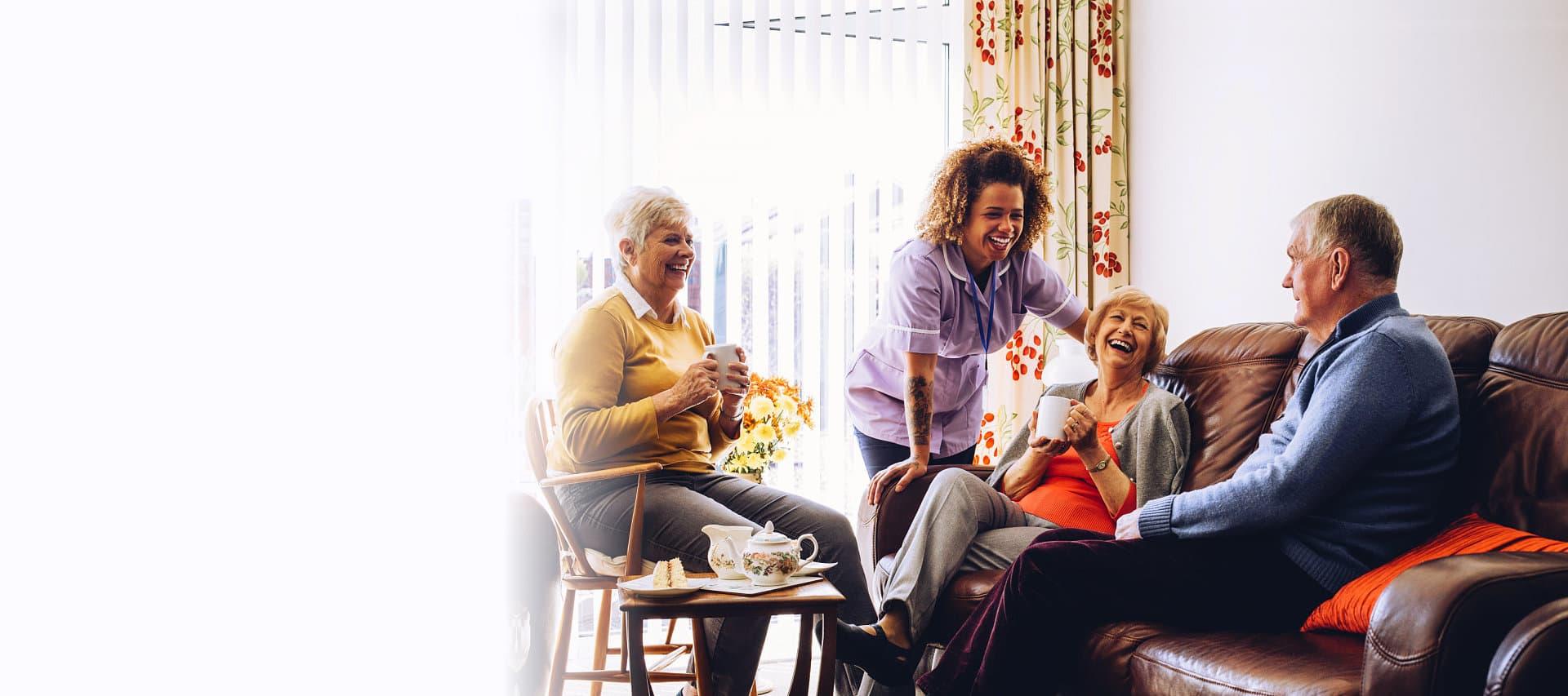 seniors with their caregiver