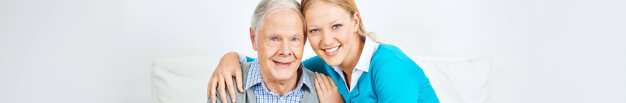 senior man with her caregiver